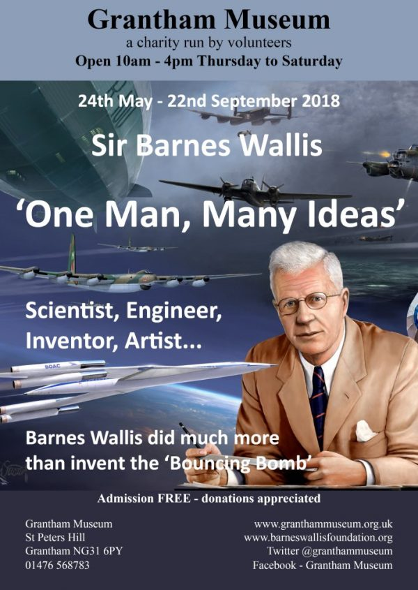 Poster for Grantham exhibition on Barnes Wallis